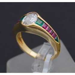 Zelta gredzens ar dabīgu briljantu, 4 dabīgiem smaragdiem un rubīniem