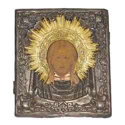 Koka ikona ar sudraba apdari