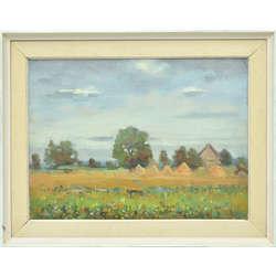 Summer landscape with haystacks