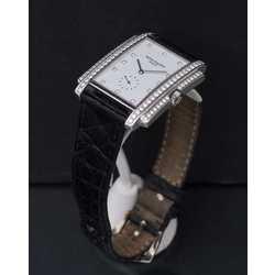 Zelta rokas pulkstenis ar briljantiem un ādas siksniņu