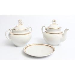 Porcelāna komplekts - tējas kanniņa ar šķīvīti, cukurtrauks