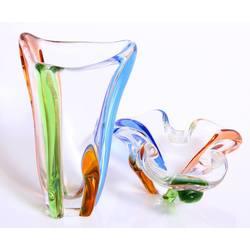 Stikla komplekts - vāze un saldumu trauks