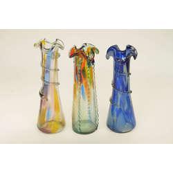 Krāsainā stikla vāzes (3 gab.)