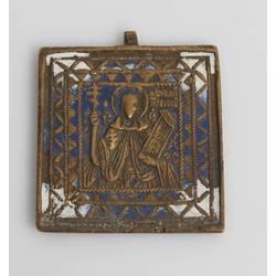 Bronze icon with enamel