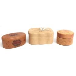 3 ādas kastītes