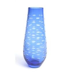 Zila stikla vāze