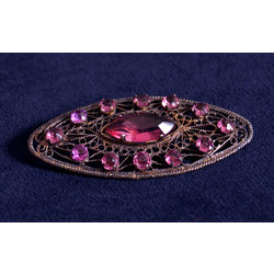 Art deco silver brooch with pink stones