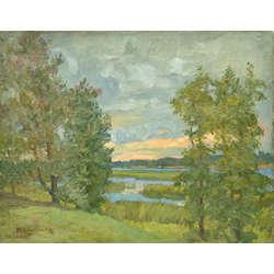 Vasaras ainava ar ezeru
