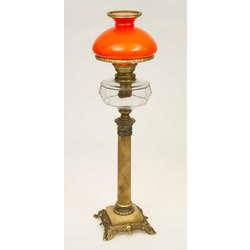 Lampa Ampīra stilā ar oranžu kupolu