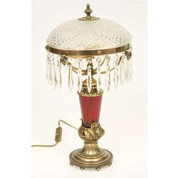 Elektriskā lampa ar kristāla un rubīna stikla kupolu