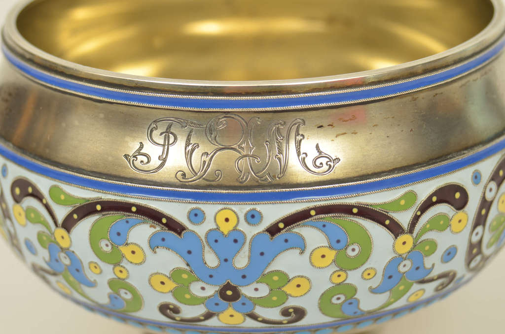 Silver utensil with five colored enamel