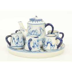 Mini tējas servīzīte - kanna, 6 kausiņi/krūzītes, šķīvītis