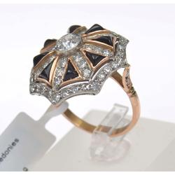 Zelta un platīna gredzens ar briljantiem un halcedoniem