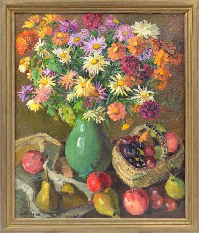 Klusā daba ar ziediem un augļiem