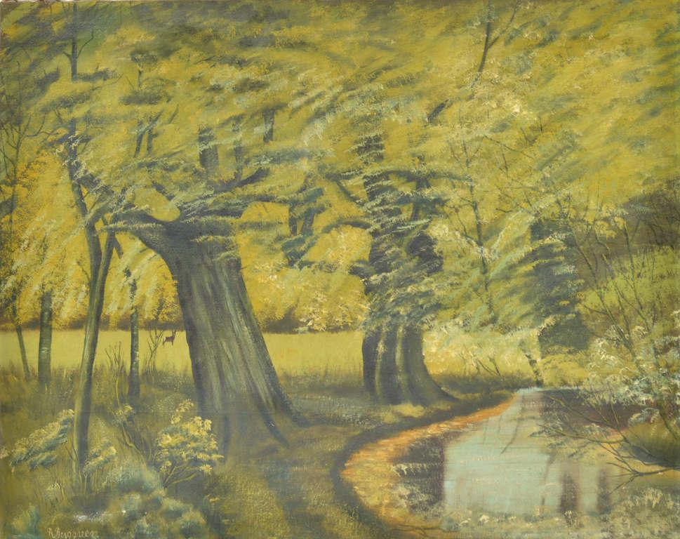 Пейзаж с деревьями у реки