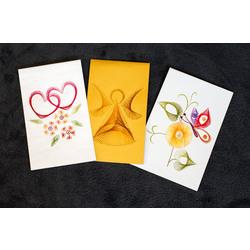 Kartiņu komplekts, 3 gab. (sirsniņas, eņģelītis, ziedi)