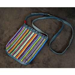 Krāsaina plecu somiņa (svītras/džinss)