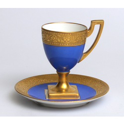 Empire style porcelain cup with saucer