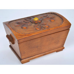 Wooden box with amber