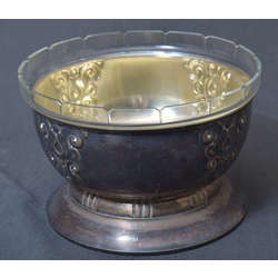 Art Deco style silver plated fruit bowl with glass