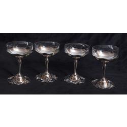 Stikla šampānieša glāzes sudraba ietvarā (4 gab.)
