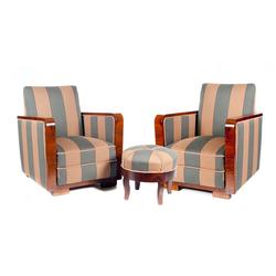 Art-deco stila krēslu pāris ar  pufiku