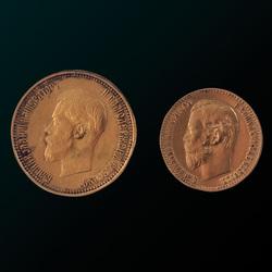 """Zelta monētu komplekts """"10 un 5 rubļu monētas"""""""