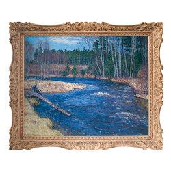 Пейзаж с лесной рекой